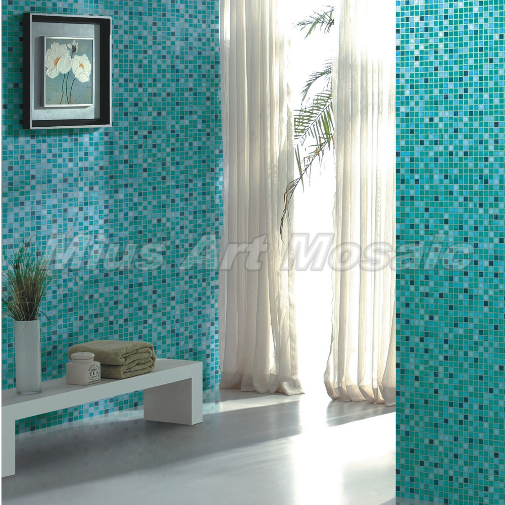 Blue Recycled glass mosaic kitchen glass tile swimming pool tile ...