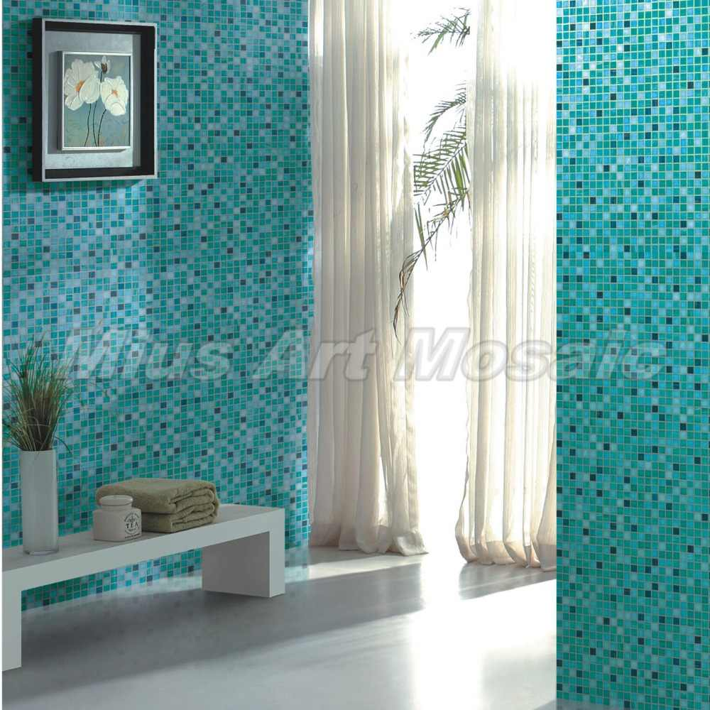 - High Quality Aqua Recycled Glass Tiles Bathroom Mosaic Glass