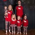 Família Pijama Natal Ano Novo Mãe Filha Roupas Família Roupas Combinando Conjunto de Pijama de Algodão Sleepwear Vermelho Olhar Família