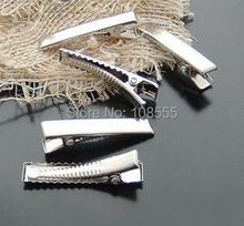 100 PCS 34*7mm  Silver  Duckbill clip Prong Alligator Hair Clips Barrette for Bows accessories hairpins #0720