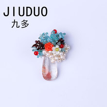JIUDUO Scarf Pin Natural Stone Cross Brooch Designer Brooches For Women