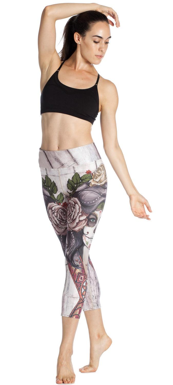 0606f00ba86b94 Acquista Sexy Yoga Pants 3/4 Pirate Woman Print Calzamaglia Sportiva ...