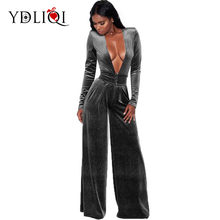49e518c8183 YDLIQI Women Velvet Jumpsuits Long Sleeve Overalls Sexy Deep v Neck Rompers  Womens Party Club Female