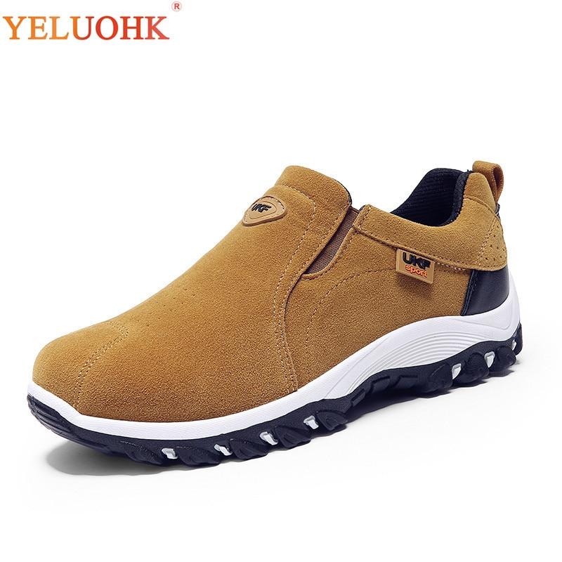 39-44 Winter Shoes Men Slip On Cotton Lining Men Boots Anti skidding Winter Boots Men Yellow Black Blue Gray