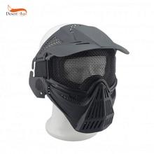 Высококачественная полностью лицевая маска ABS пластик с безопасными металлическими очки в сеточку Защита CS провод регулируемая нейлоновая маска