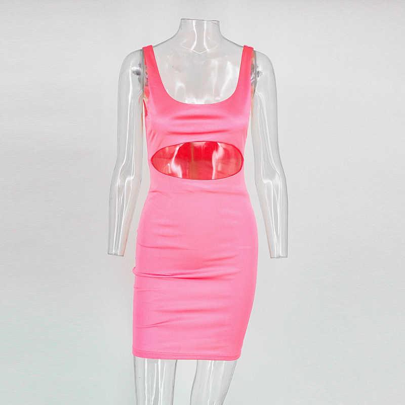 Tobinoone Sommer Bodycon Mini Kleid 2018 Rosa Frauen Cut Out Sexy Kleid Kim Kardashian Spaghetti Strap Kleid Für Party Club