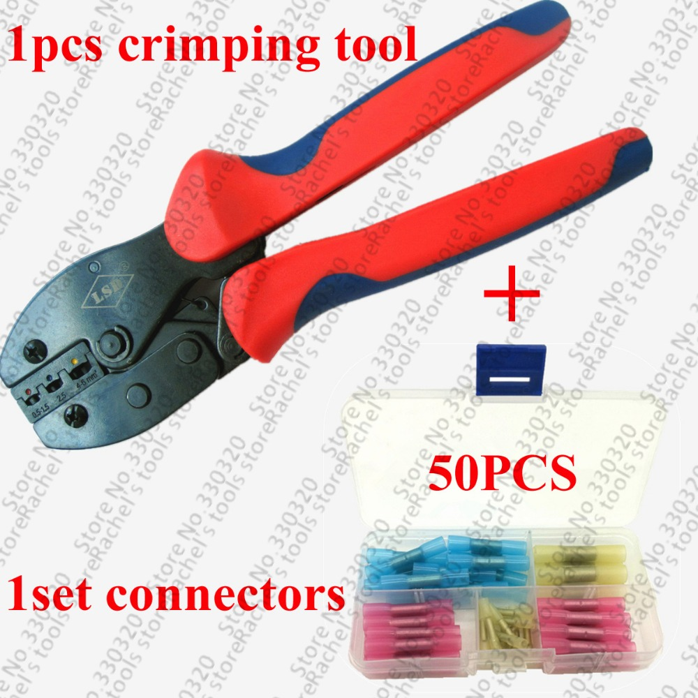 1pcs Hand Terminal Crimping Pliers With 50pcs Heat Shrink Butt Wire Crimp Terminal Connector Good Reputation Over The World