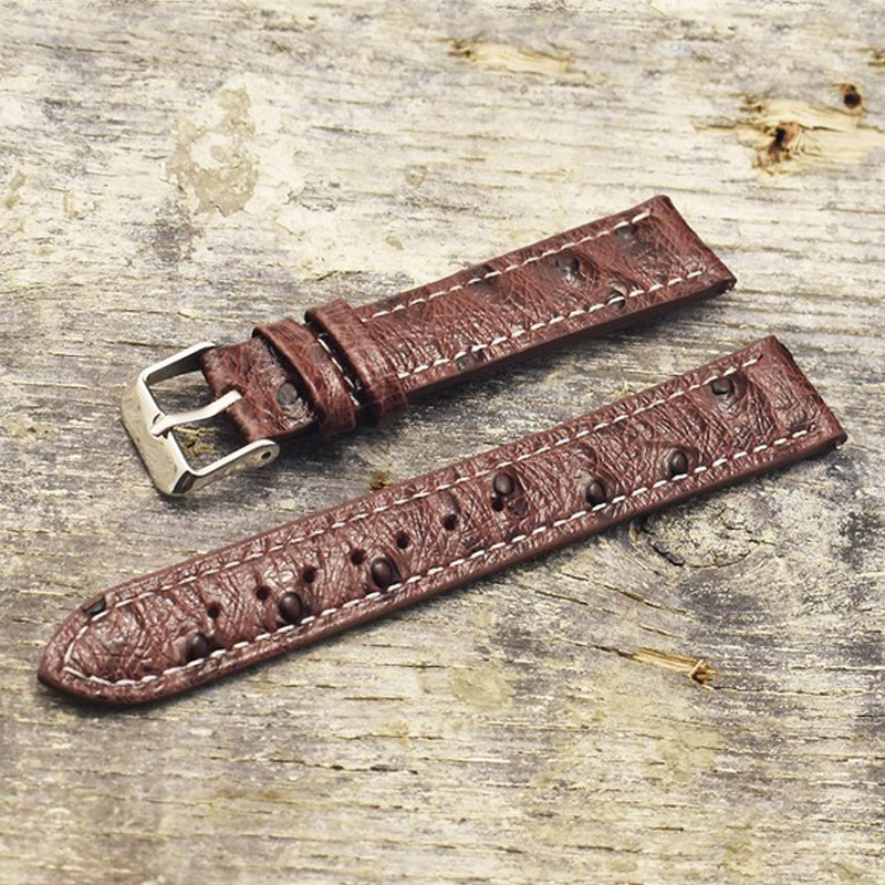 Onthelevel Genuine Retro Ostrich Leather Watch Strap 18mm 20mm 22mm Ostrich Pattern Watchband With Quick Release Spring Bar#C