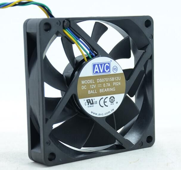 NEW AVC 7015 7CM 4PIN Double Ball bearing DS07015B12U 12V 0 70A cooling fan