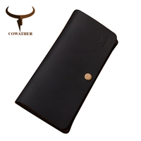 COWATHER Good Crazy Horse Leather Luxury Men Wallets 2016 Fashion Long Newest Male Purse 101 Carteira