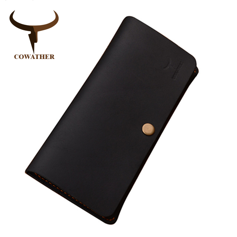 COWATHER Good Crazy Horse Leather Luxury Men Wallets 2019 Fashion Long Newest Male Purse 101 Carteira Masculina Free Shipping