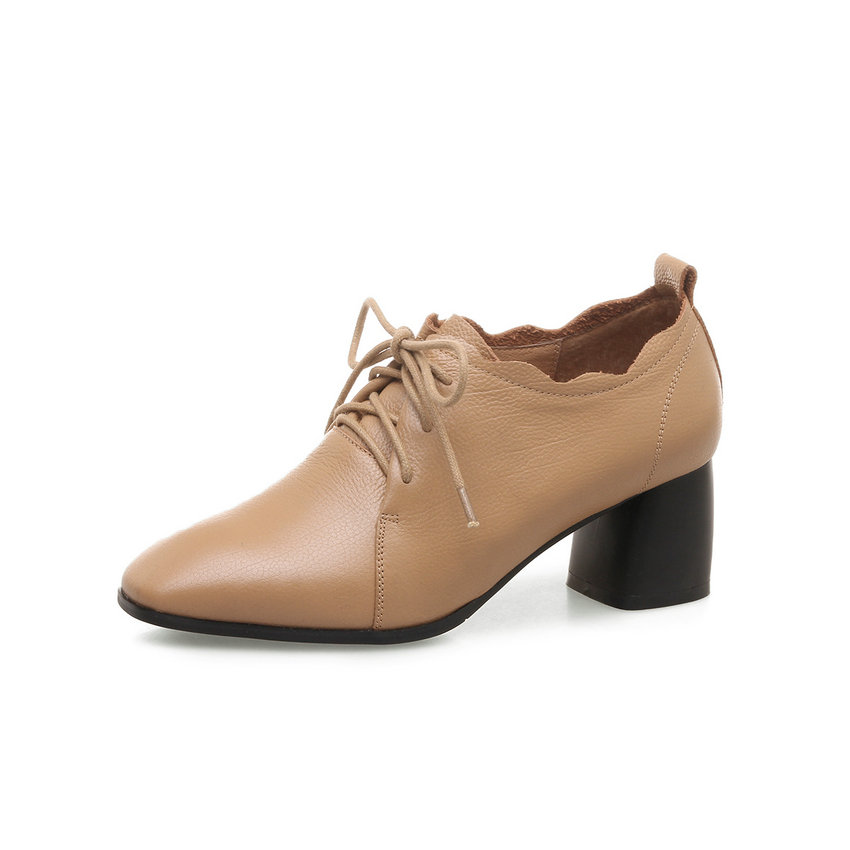 Style Taille Véritable Dames En Chaussures 34 Femmes Mariage Pointu Vinlle Hauts noir Pompes vert 2018 Western Talons 42 Carré Lacets À Bout Cuir Apricot De zEwqpHw