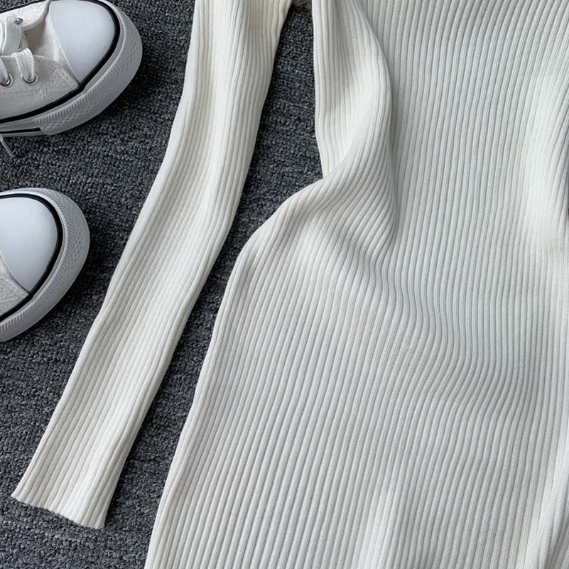 NiceMix Elegant knitted dress women Pearl beading autumn sweater dress Long sleeve bodycon winter dress vestidos in Dresses from Women 39 s Clothing