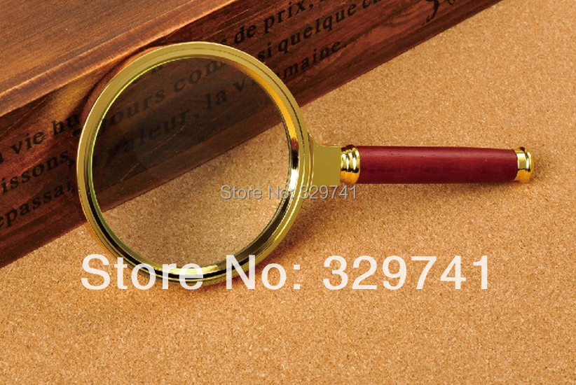 80mm Wood Handle Gift Magnifying Glass with Zinc alloy frame, glass lens, red wood handle Magnifier Loupe 6x