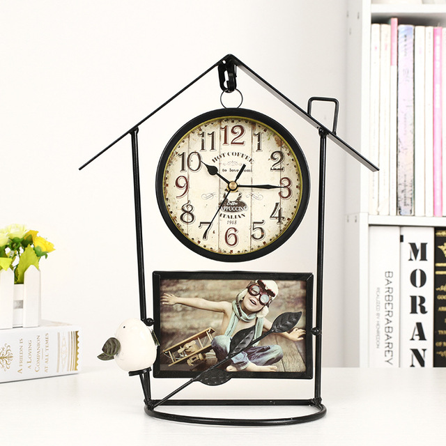 Vintage wrought iron bird cage wall clock decoration clock home decoration accessories new house decoration living room clocks