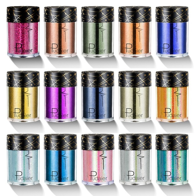 Pudaier Holographic Sequins Glitter Shimmer Pigment Eye Shadow Tattoo Lip Nail Body Glitter Festival Party Eye Makeup TSLM1