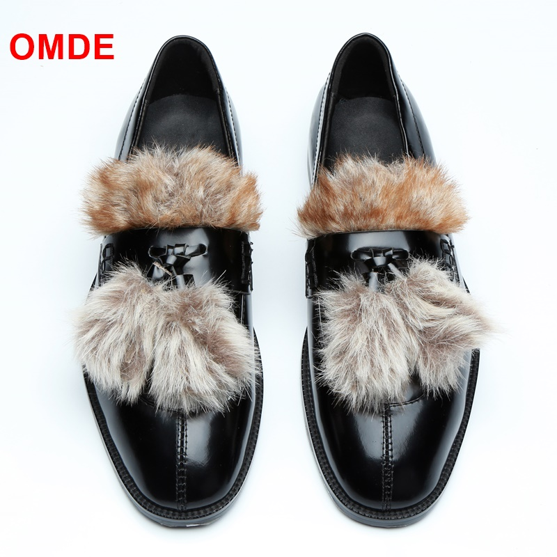 OMDE Newest Handmde Black Patent Leather Men Shoes Patchwork Rabbit Fur Decorative Tassel Loafers Men Slip Ons Dress Shoes omde patent leather men loafers fashion patchwork slip on shoes men party and prom shoes handmade boat shoes men s dress flats