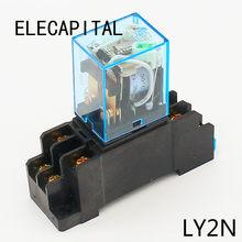 10a relé dpdt 12vdc 24vdc 110vac 220vac ly2n relé de uso geral ly2nj com tomada base do relé de energia 8 pinos interruptor do relé ly2