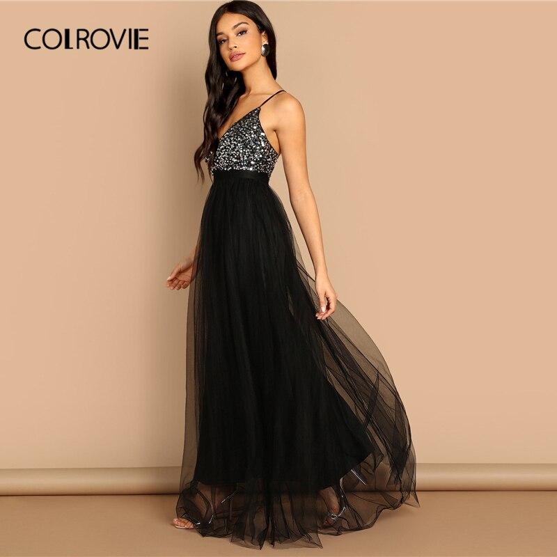 Image 3 - COLROVIE Black Criss Cross Backless V Neck Mesh Bodice Sequin  Sexy Party Dress Women 2019 Sleeveless Ladies Evening Maxi  DressDresses
