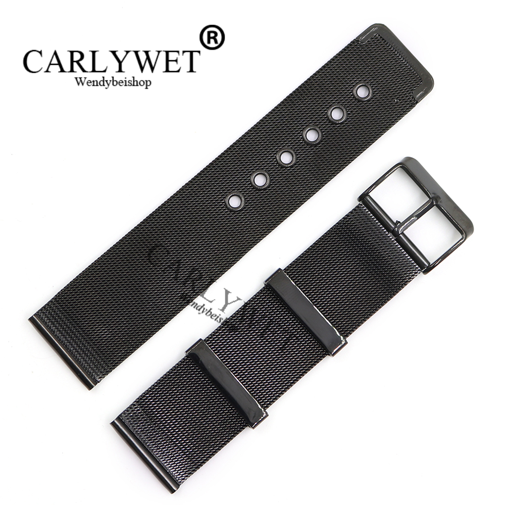 CARLYWET 20 22mm Black 316L Stainless Steel Replacement Mesh Wrist Watch Band Strap Bracelet With Black Polished Buckle stylish 29 led 3 color light digit stainless steel bracelet wrist watch black