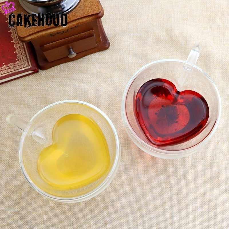 Cakehoud Berbentuk Hati Kaca Lapis Ganda Mug Buatan Tangan Kreatif Bir Minuman Cangkir Kopi Tahan Suhu Tinggi Beberapa Kaca mug