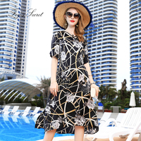 2019 для женщин Настоящее шелковое платье элегантный черный с цветочным принтом платье плюс размеры уникальный Tribe L, XL, XXXL vestidos casuais