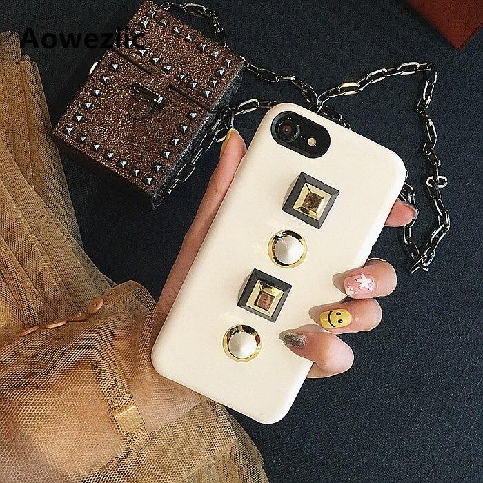 Aoweziic New Korea grande marca creatività rivetti per iPhone6s 7 plus cuoio cassa del telefono mobile 6 plus soft shell modelli femminili