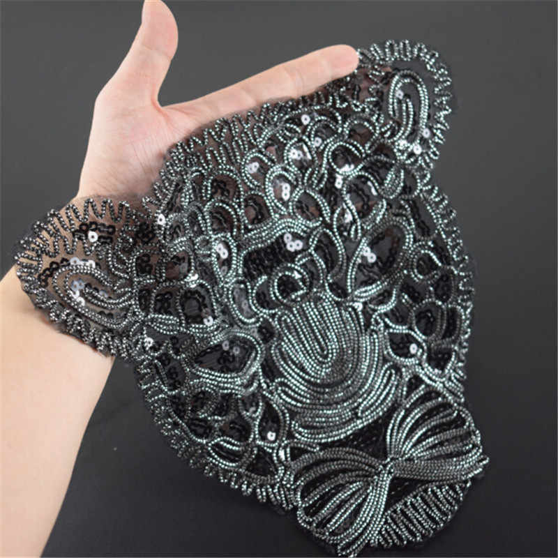 T Delle Donne della camicia di patch di paillettes nero 285 millimetri leopard trattare con esso biker patch per abbigliamento adesivi 3d t shirt mens di trasporto libero