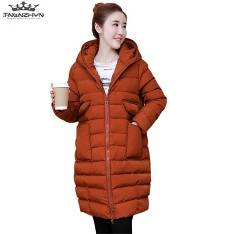 tnlnzhyn 2017 New Winter Women Coat Jacket Big Yards Thick Hooded Medium long Down Cotton Jacket Warm Winter Jacket Y722 winter students women coat new style loose big yards jacket long sleeve medium long hooded jacket thick cotton warm coats g2707
