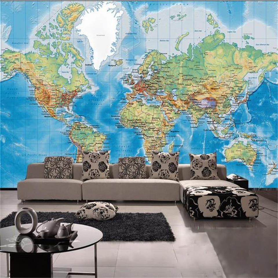 Пользовательские 3D фотообоями гостиная спутниковый карта мира Живописи Диван ТВ фоне стены нетканого обои для стен 3d