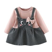 Spring Baby Girl Dress Long Sleeve Kids Dress For Girls Cartoon Strap Fashion Newborn Baby Girl Dress Princess Clothes