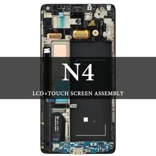 "Untuk Samsung Galaxy Note 4 LCD dengan Frame 5.7 ""N9100 N910F N910A N910V LCD Hitam Abu-abu Tampilan Layar AMOLED digitizer"