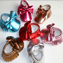 Handmade Soft Bottom Fashion Tassels Baby PU Bright Butterfly Newborn Babies Shoes 6-colors PU leather Prewalkers Boots 0-30M