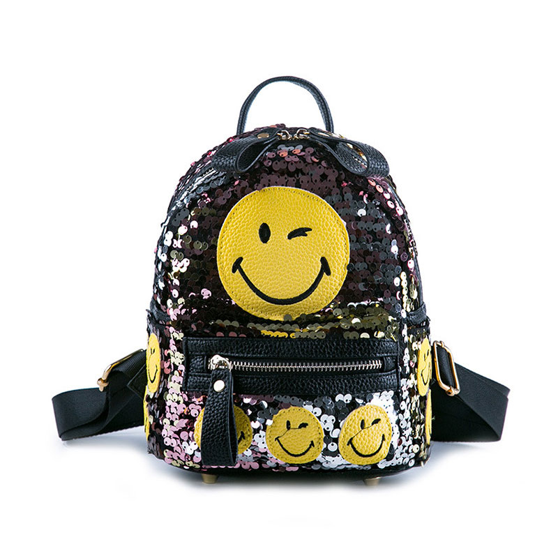 Fashion Printing 3D Emoji Backpack Sequined Smiling Face Casual Daypacks School Book Bags Mini Backpack Travel Bag School Bag 2018 bendy and the ink machine backpack for children school bags cartoon game printing book backpack daily school backpack