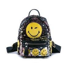 Мода Печать 3D Emoji Рюкзак Блестками Улыбающееся Лицо Повседневная Daypacks Школьные Сумки Книгу Мини Рюкзак Сумка Школьная Сумка