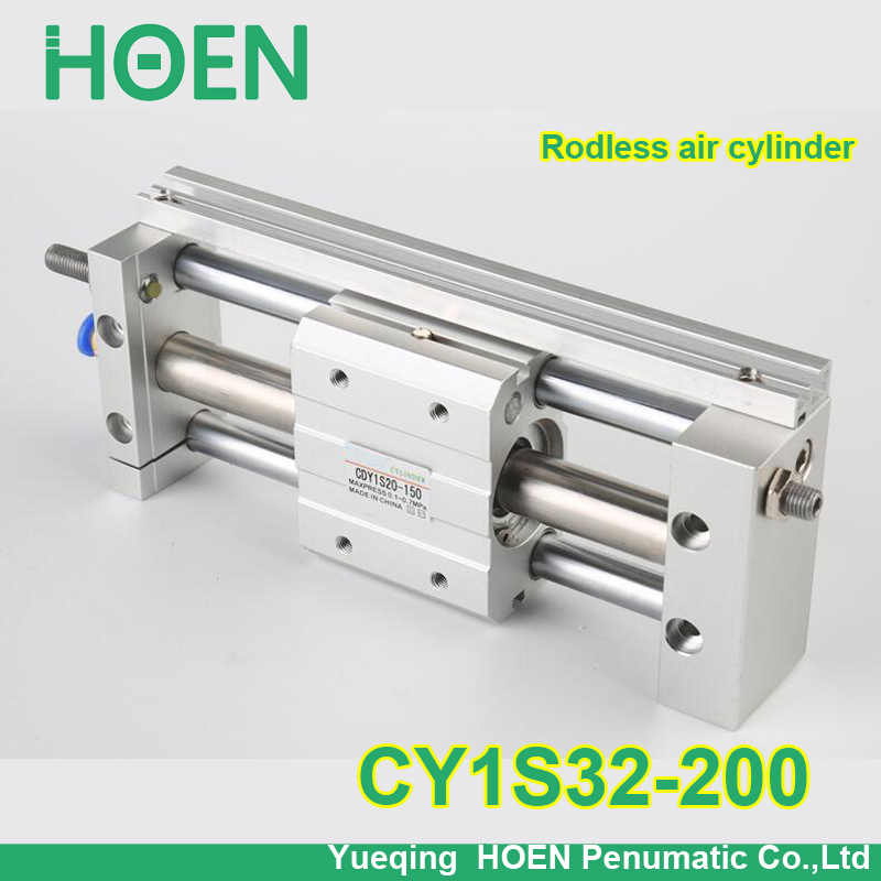 CY1S32-200 SMC type CY1S CY1B CY1R CY1L series 32mm bore 200mm stroke Slide Bearing Magnetically Coupled Rodless Cylinder cy1s 10mm bore air slide type cylinder pneumatic magnetically smc type compress air parts coupled rodless cylinder parts sanmin
