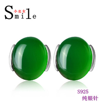 famous brand Natural semi-precious stones 925 Sterling Silver Opal white green red Stud Earrings female girlfriend gift