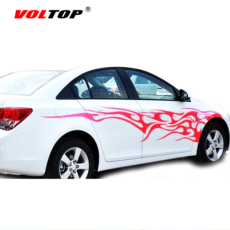 VOLTOP Flame Element Fire Car Stickers Scratch Cover Car-styling Reflective Strips Motorcycle Decorate Auto Sticker Decal Film crystal reflective flame pattern car decorative stickers yellow pair