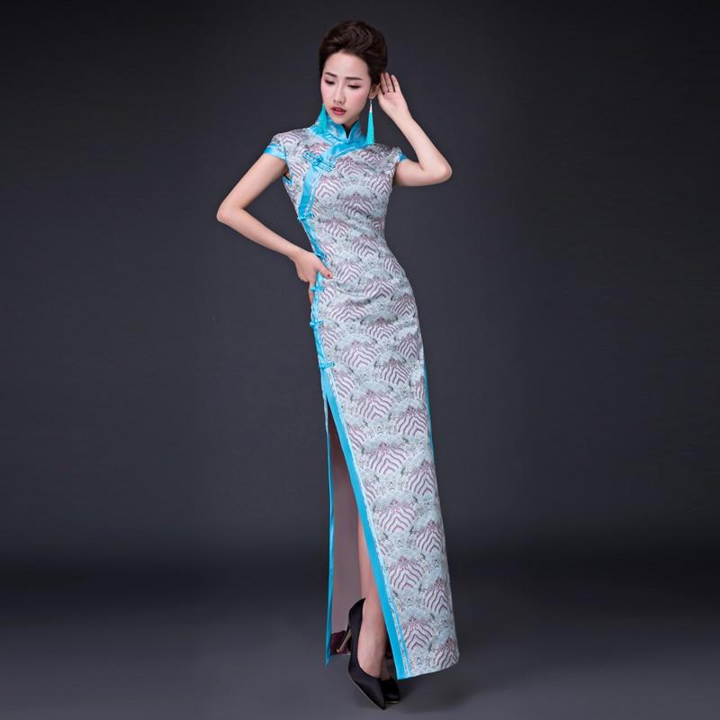 2018 Vintage Cheongsam White Qipao Long Traditional Chinese Dress Oriental Style Dresses China Clothing Store vestido chino