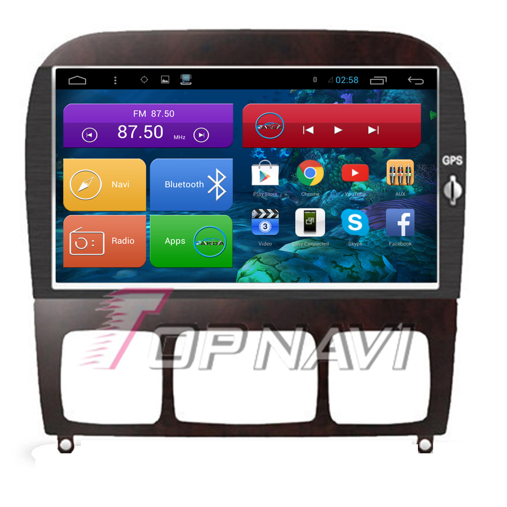 Quad Core Android 4.4 Car Video for S350 1998 1999 2000 2001 2002 2003 2004 2005 For Benz With Mirror Link GPS BT Map 16GB Flash