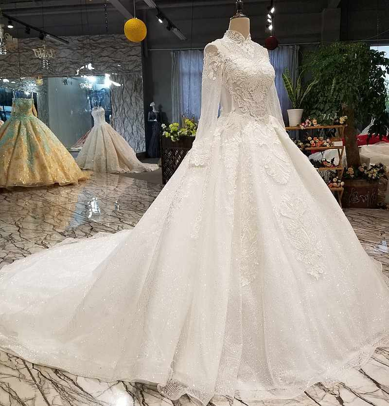 a238a3e68f580 LS01540 muslim free shipping wedding gown high neck long sleeve lace up  back bride wedding dresses can add lining or customize
