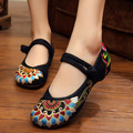 Old Beijing Casual Embroidered Square Vintage Women Single Shoes  Mary Jane Flats Canvas Chinese Ballet Cloth Shoes