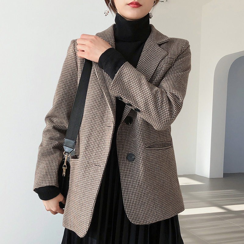 Wool women blazers for office jackets 2019 Spring Winter Elegant Office Lady Business Blazer Women Suit Oversize Female Outwear