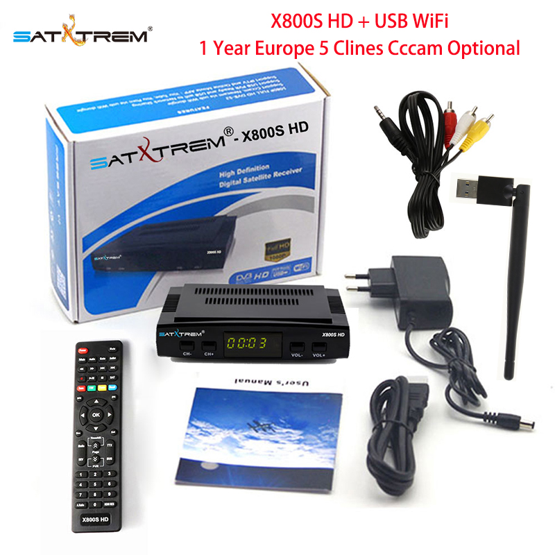 PK V7 HD Satxtrem X800S HD Satelliten-receiver mit USB Wifi DVB-S2 Rezeptor 1 Jahr Europa Spanien Cccam 5 Clines optional