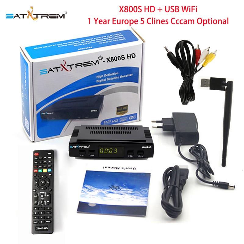 PK V7 HD Satxtrem X800S HD vía satélite con Wifi USB DVB-S2 Receptor 1 año Europa España Cccam 5 Clines opcional