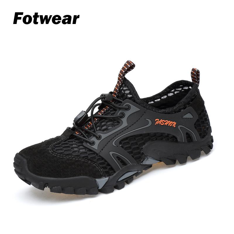 Fotwear Mans Outdoor Shoes Hiking Shoes Climbing Shoes Large Rubber Outsole Breathable Mesh Linings Shoes Lace-up Absorb Shock