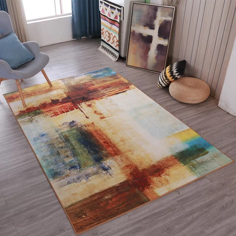 European modern rectangular carpet anti slip Abstract Art floor mat living room coffee table rug bedroom bed thick blanket