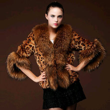 U-SWEAR Fashion Sexy Winter Women Faux Fur Leopard Coat with Raccoon Dog Collar Faux Fur Poncho Gilet Chalecos De Pelo Mujer(China)