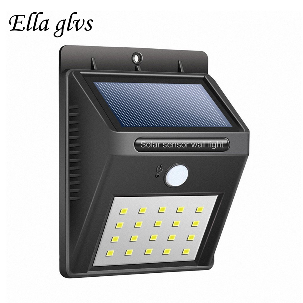 Solar Powered Solar Light 20 LED Waterproof Sense Light Infrared Sensors Lamp Outdoor Fence Garden Pathway Wall Light For Patio