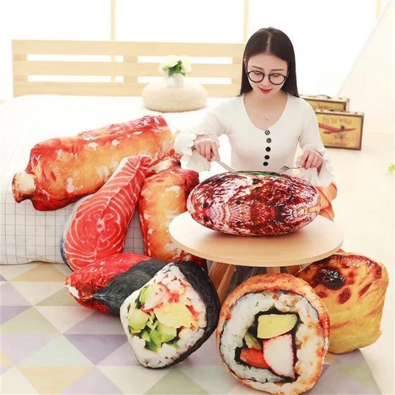 Creative Food Plush Sushi Steak Chop Pillow Cushion Toy Decorative Pillow Cushion 3D Simulation Food Stuffed Toy Home Decor